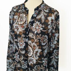 Ann Taylor LOFT Navy Floral Sheer Tunic